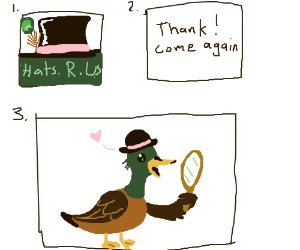 duck decides which hat in 2 panels pio.