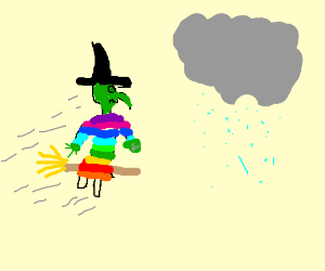 rainbow coloured witches fliing