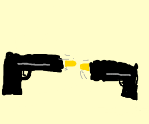 autonomous pistols shoot into each other