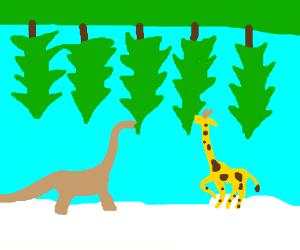 dino and giraffe on cloud eat upsidedown trees