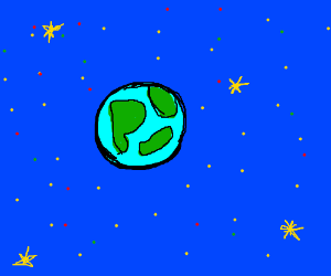 The Earth in blue space