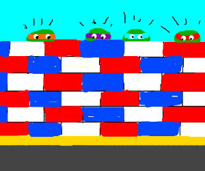 TMNT hide behind a red white and blue wall