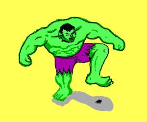 Hulk kills little spider with hulk stomp