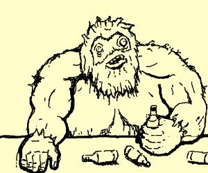 Schizophrenic Yeti drunk in a bar.