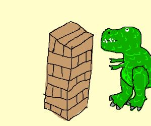 t-rex plays jenga