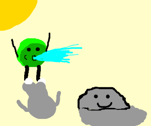Green M&M spitting water while a rock smiles
