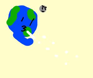 Earth shoots spit balls.