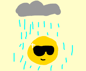 Round shiny yellow dude in sunglasses in rain