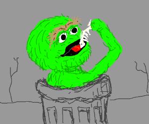 Oscar the Grouch has a midnight snack