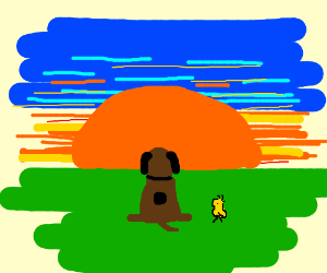 Brown version of Snoopy stares at the sunset