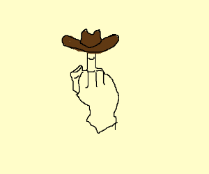 Wearing a hat on your middle finger.