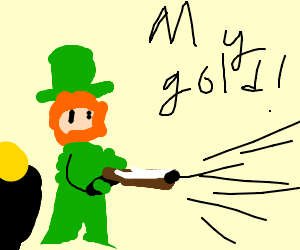 Leprechaun defends his gold with shotgun