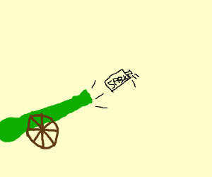 green cannon and spray cans?