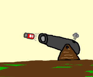 Cannon shoots out a can