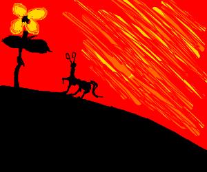 Animorphs alien and giant flower, burning sky