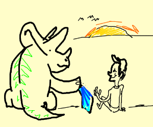 triceraops lends a man his blanket