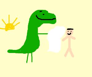 Dinosaur sharing towel with human at sunset