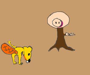 Yellow Beaver bows to pig tree???