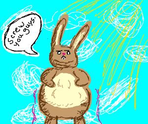 jumbo bunny w/ bad attitude defies gravity