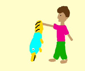 platypus caught by pink-shirt-green-pants-guy