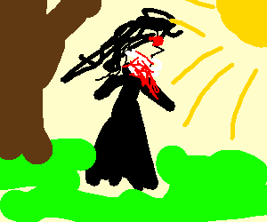Goth mistress of Evil takes a delightful walk