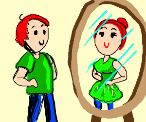 child looking in mirror clipart. man looks into mirror and sees woman child looking in clipart