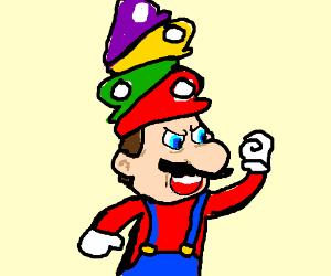 Mario wearing ten hats