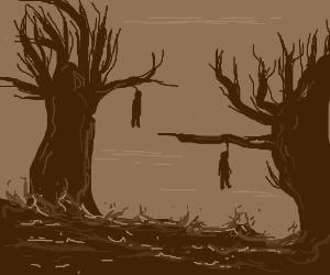Hellish landscape.