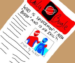 spiderman and blue superhero are buddies!