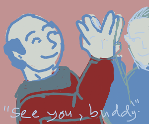 Picard say bye to Spock.