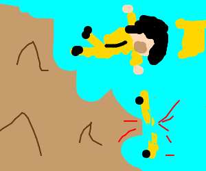 Yelow man skateboards on a breaking cliff