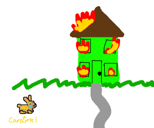 Caramel bunny crying about house fire.