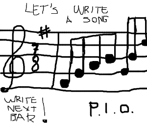 Write the next bar of the song PIO (7/8 F#)