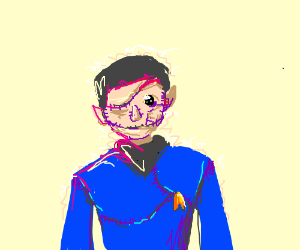 A sewn together spock