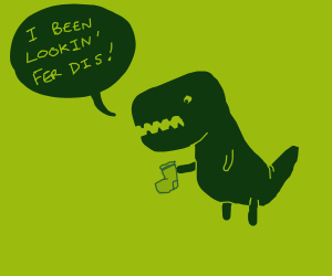 Dinosaur finds his missing sock