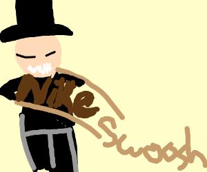 monopoly man embraces chocolate nike swoosh