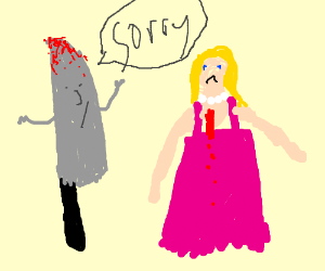 Knife is sorry 4 stabbing girl in pink dress