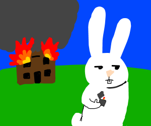 The rabbit set the house on fire!
