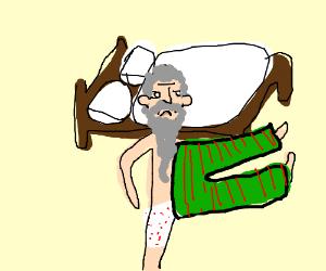 Old man dislocates legs in pajamas
