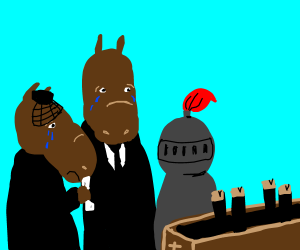 Horse couple and knight mourn dead pony.