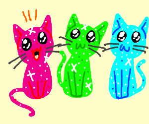 Overjoyed sparkling brightly colored  cats.