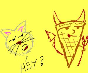 Cat communicates with satanic ice cream cone