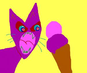 Alien cat hates purple ice cream
