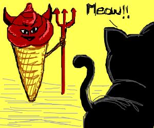Cat meows at ice cream satan