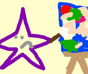 Purple star is disappointed in their art