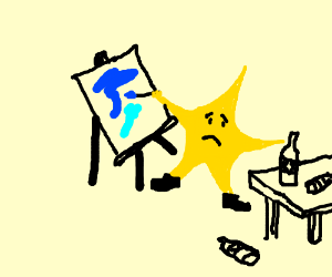 A sad star is painting on a canvas