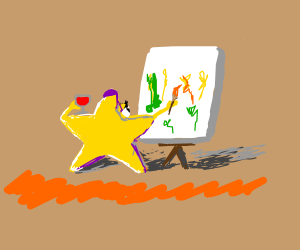 star tries to paint while drinking wine