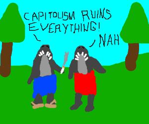 Hippie sharks arguing at a park