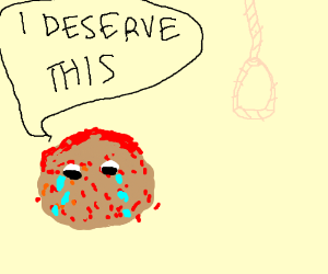 meatball cries blood awaiting it's fate