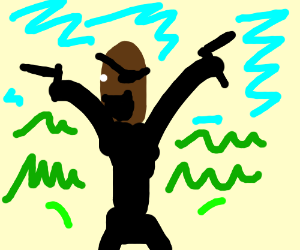 Nick Fury in a meadow